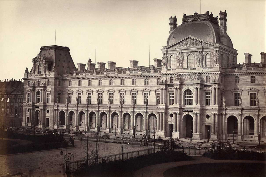 Edouard Baldus - Pavillon Richelieu and Pavillon Turgot, Louvre, Paris
