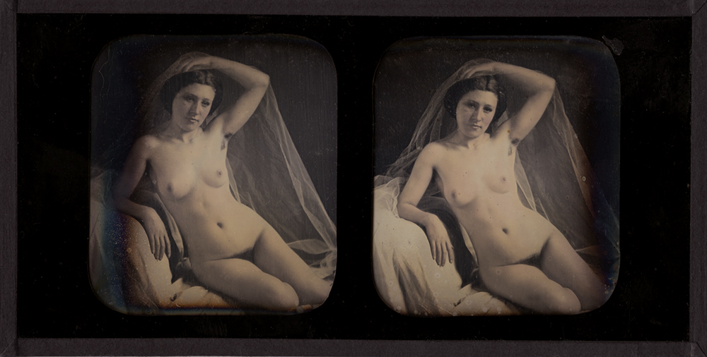 Photo Detail - Bruno-Auguste Braquehais (attributed to) - Seated Female Nude with Veil