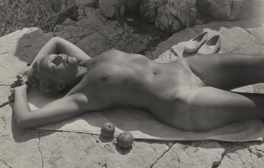 Vilem Reichman - Reclining Female Nude (His Wife) with Fruit