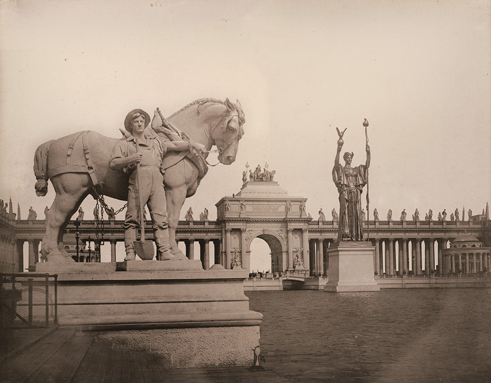 E. R. Walker - Statue of Industry (left) and the Statue of the Republic (right). Chicago 1893 World Exposition