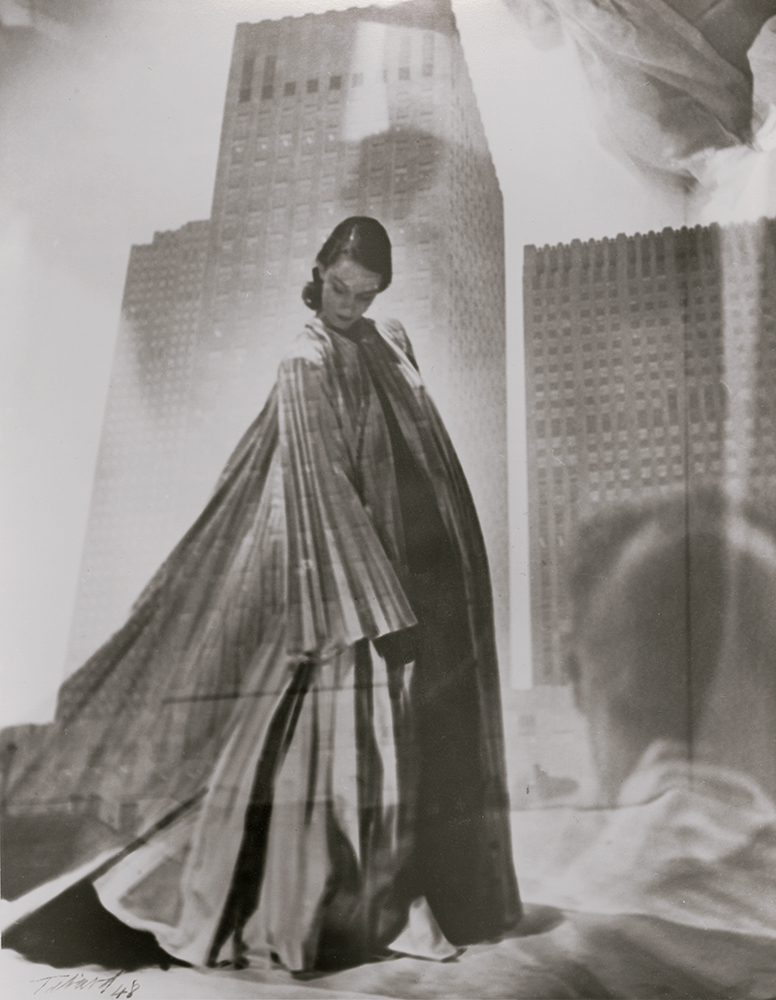 Maurice Tabard - Double Exposure of Fashion Model and Buildings/Man