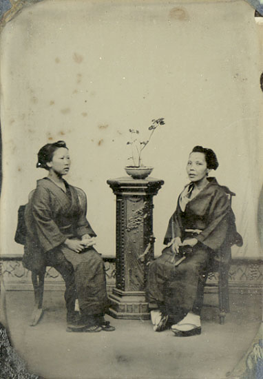 Anonymous (Japan) - Two Japanese Women with Plant on Studio Pedestal