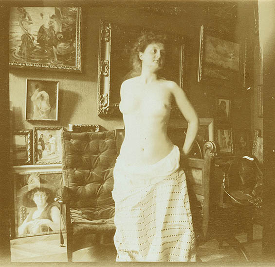 Auguste Pierre Delbet - Female Nude Study in the Studio (Standing)