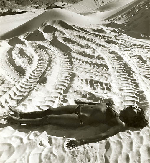 Anonymous (Japanese) - Japanese Woman in Bikini Lying in Tire Tracks in Sand
