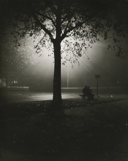 Brassai (possibly) - Couple on Bench at Night, Paris